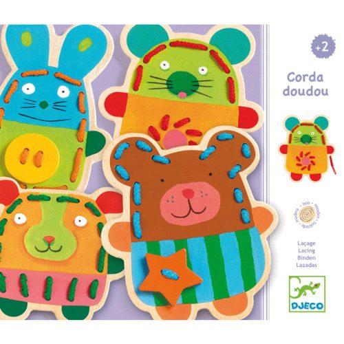 Fűzős játék - Édes állatok - Cuddly lacing Djeco