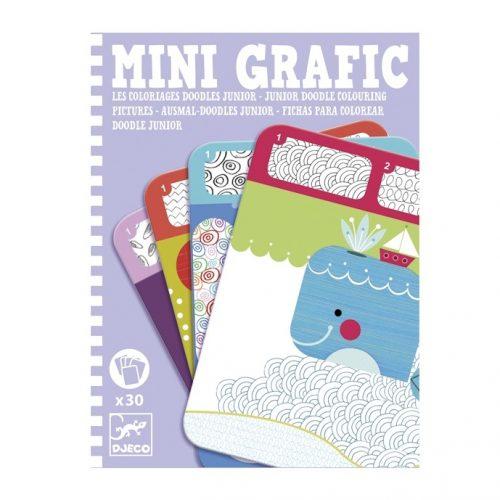 Mini grafika - Színes mintázatok - Junior doodle colouring pictures Djeco