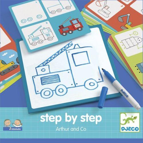 Rajzolás lépésről lépésre - Járművek - Step by step Arthur and Co Djeco