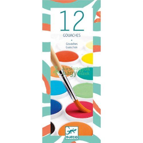 Gouache festék - 12 klasszikus szín - 12 couleurs gouache Djeco