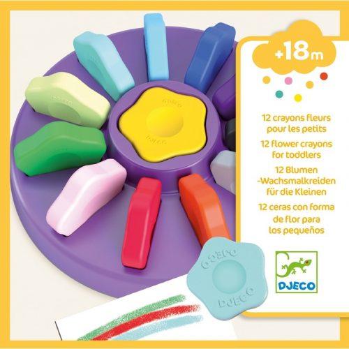 Marokkréta - 12 színű vírág - 12 flower crayons for toddlers Djeco