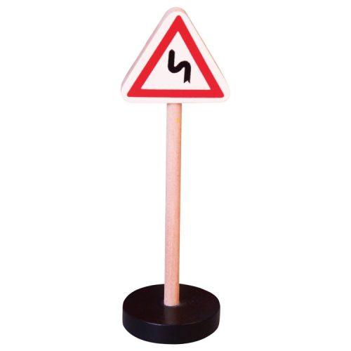 Közlekedési tábla- Egymás utáni veszélyes kanyarok