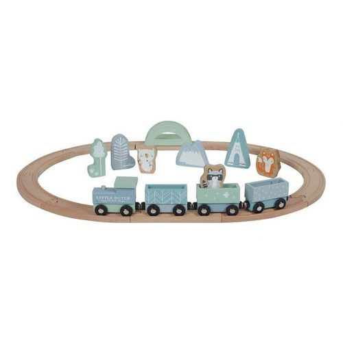 Vonat sínpályával adventure kék Little Dutch