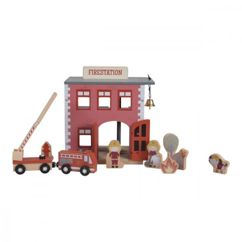Fa tűzoltóállomás - fa vasút kiegészítő Little Dutch