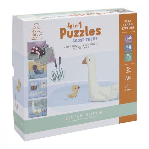 Puzzle játék 4 in 1 - állatos Little Dutch