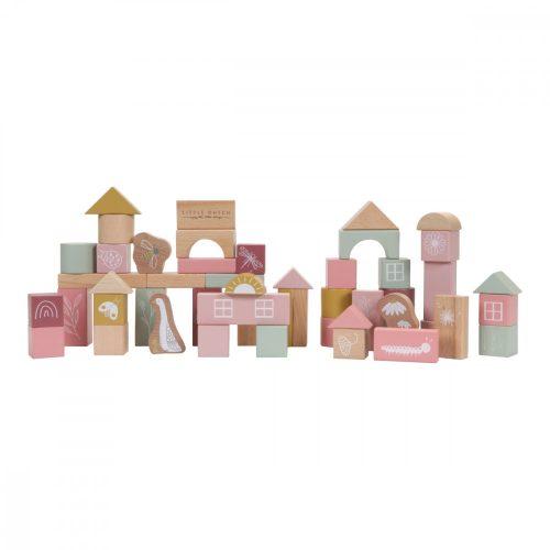Építőkockák dobozban 50 db-os rózsaszín Little Dutch