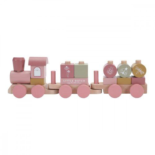 Vonat építőelemekkel rózsaszín Little Dutch
