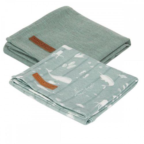 Textilpelenka óceán menta 70x70 cm 2 db/csomag Little Dutch