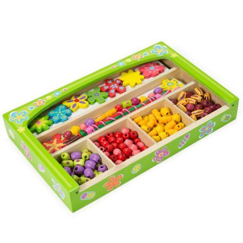 Gyöngyfűző virágos fa dobozban Viga Toys